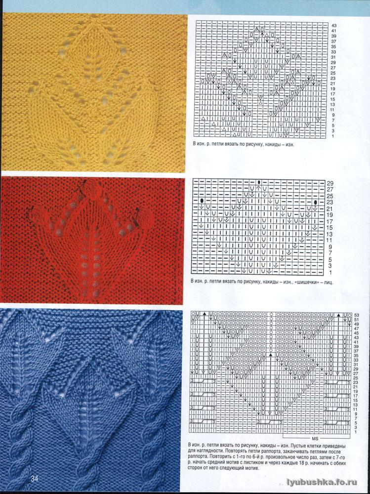 Смотреть бесплатно вязание узоры спицами