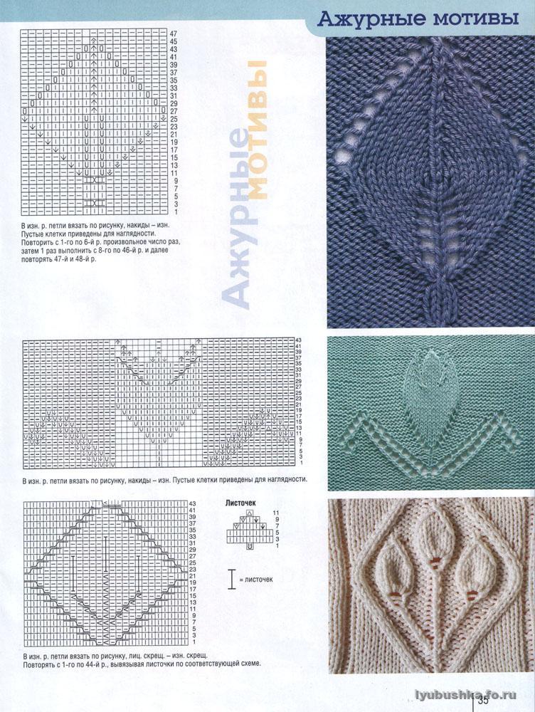 Ажурные мотивы для вязания спицами