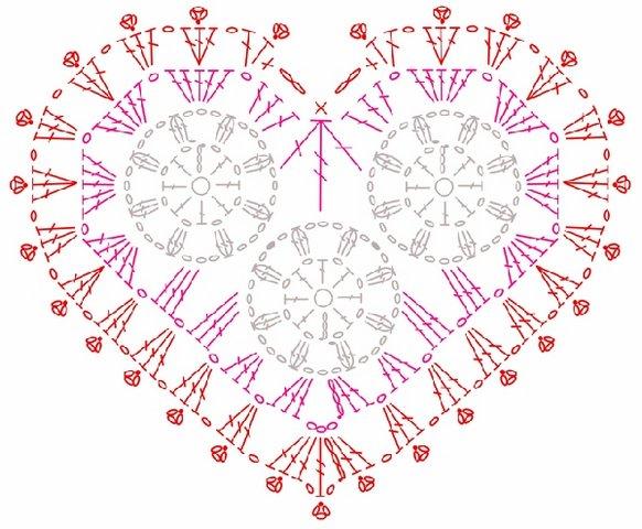 Салфетка Сердце с розами